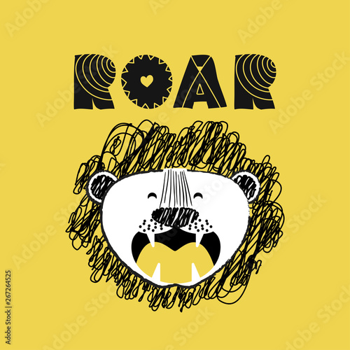 Photo  Roarrr Lion' funny vector character drawing