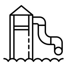 Water Tower Slide Icon. Outlin...