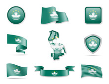 Macau Flags Collection. Vector Illustration Set Flags And Outline Of The Country.