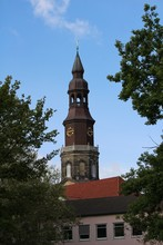 Tower Of The Church With Bird On The Cross