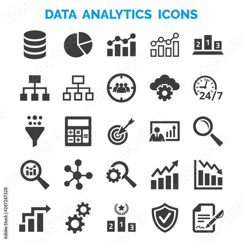 Data analytics icons set on white background. Canvas Print