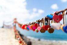 Heart Locks On The Wall Lanzarote.  Canary Islands, Spain.