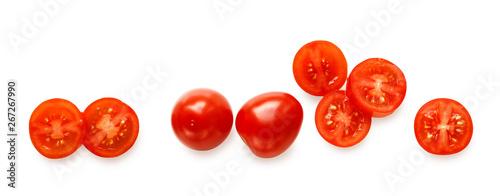Fotografia, Obraz whole and sliced cherry tomatoes isolated on white background