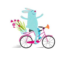 Blue Rabbit Carries A Bouquet Of Flowers On A Bicycle
