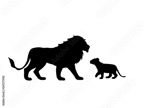 Photographie Lion and lion cub predator black silhouette animal