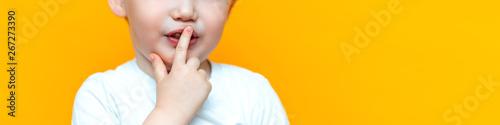 Fotografie, Obraz  little boy child put his finger on lips, keep silence serious, blonde hair