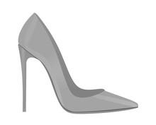 Grey Elegant Shoe. Vector Illustration