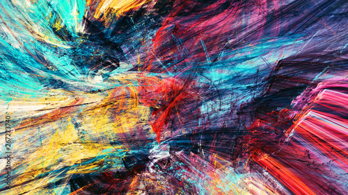 Bright artistic splashes. Abstract painting color texture. Modern futuristic pattern. Multicolor dynamic background. Fractal artwork for creative graphic design - 267273740