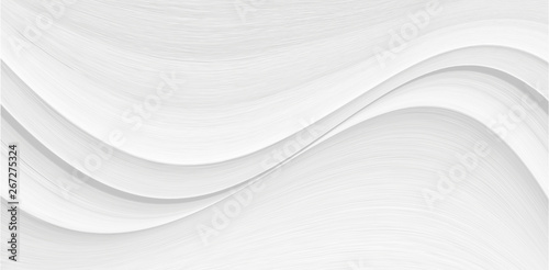 White background 3 d with elements of waves in a fantastic abstract design, the texture of the lines in a modern style for wallpaper. Light gray template for wedding ceremony or business presentation. - 267275324