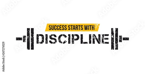 Photo Success starts with discipline motivational gym quote with barbell and grunge effect