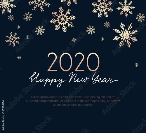 Vászonkép Happy new year greeting card with golden snowflakes and navy blue background