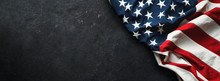 United States Flag On Black Ba...