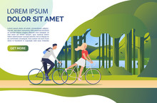 Woman And Man Riding Bicycles, Green Landscape And Sample Text. Tourism, Activity, Leisure Concept. Presentation Slide Template. Vector Illustration For Topics Like Summer, Holiday, Sport