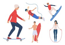 Set Of Outdoor Activities. Men And Women Snowboarding, Skateboarding, Surfing, Jumping Rope. Activity Concept. Vector Illustration Can Be Used For Topics Like Extreme Sport Or Hobby