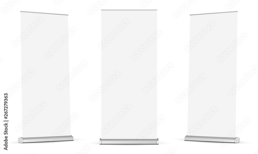 Fototapety, obrazy: Set of roll up banners mockups isolated on white background. Vector illustration