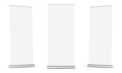 Set of roll up banners mockups isolated on white background. Vector illustration