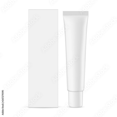 Tela Plastic cosmetic tube with cardboard rectangular box mockup isolated on white background - front view