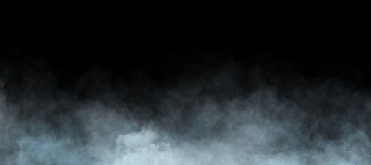 abstract fog or smoke move on black background. White cloudiness, mist or smog background