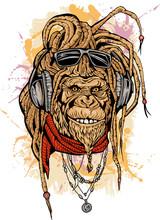 Portarit Of Club DJ Rasta Mokey With Color