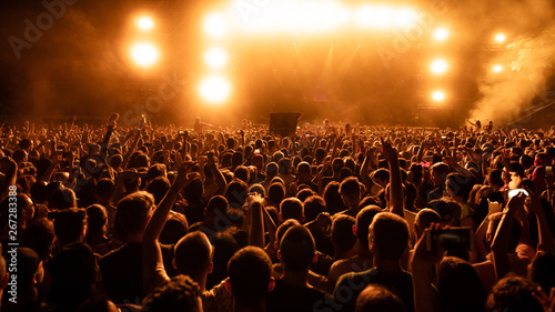 Rear view of audience on music festival at night. - 267283388