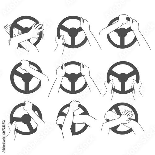 Photo Man's hands on the steering wheel. Simple vector set