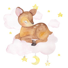 Watercolor Illustration With Cute Sleeping Deer On The Cloud And Star