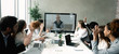 canvas print picture - Business team having video call with senior boss at office