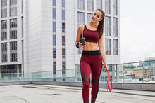 Beautiful Fit Summer Girl Holding Coffee Cup. Fitness Sporty Woman During Outdoor Exercises Workout Making Pause. Sporty Female