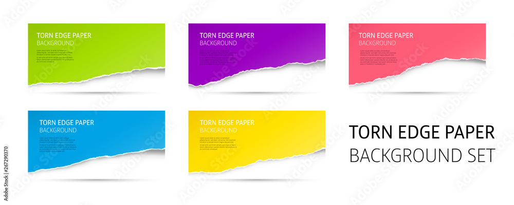 Fototapeta Torn edge paper background set. Colorful vector templates.