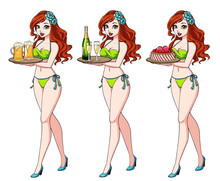 Pretty Cartoon Girl With Red Hair In Green Bikini Swimsuit Holding Beer, Champagne And Cake. Hand Drawn Vector Illustration. Can Be Used For Prints, Cards, Coloring Books, Games, Tattoo Etc.