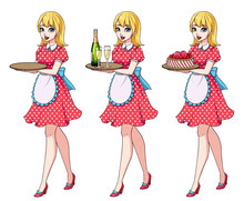 Set Of Blondie Waitresses Holding Champagne And Cake, Wearing Pink Dotted Maid Costume.