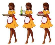 Set Of Brown Haired Waitresses...