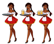 Cartoon Vector Illustration With Sexy Brunette Waitress Wearing Red Traditional Dress.