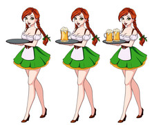 Cartoon Vector Illustration With Sexy Waitress With Red Hair Wearing Green Traditional Dress.