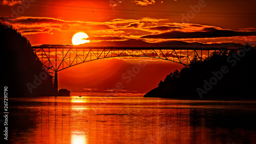 Garden Poster Red Bloody sunset today over Deception pass bridge