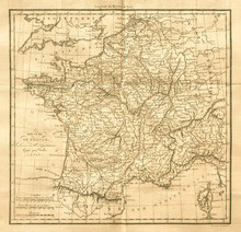 Vintage Map Of France. Old & A...