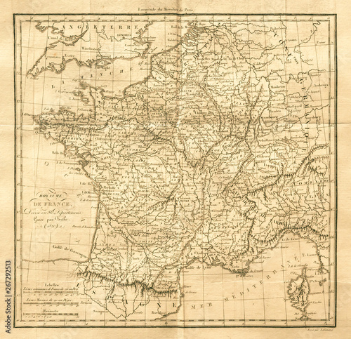 Photo Vintage map of France. Old & Antique