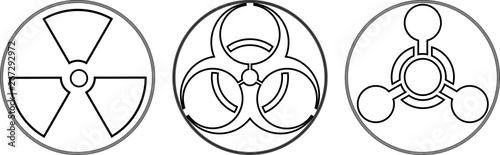 Fototapeta Radiation, toxic and bio hazzard icons obraz
