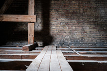 Wooden Beams In Empty Attic / ...