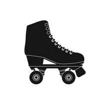 Vector Flat Cartoon Black Icon Logo Roller Skate Isolated On White Background
