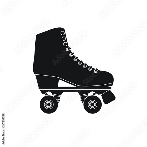 Carta da parati Vector flat cartoon black icon logo roller skate isolated on white background