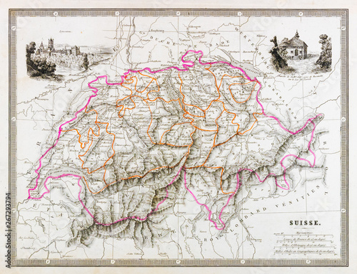 Old map of Switzerland. Vintage and antique style. Billede på lærred