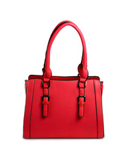 Red Female Leather Bag Isolate...