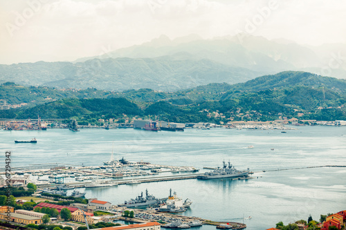 View of the military, commercial dock and ships of La Spezia in Italy