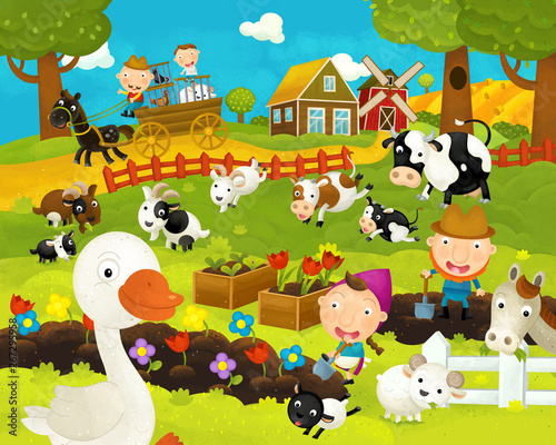 Foto op Aluminium Rivier, meer cartoon happy and funny farm scene with happy goose - illustration for children