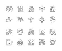 Benchmarketing Line Icons, Linear Signs, Vector Set, Outline Concept Illustration