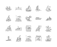 Boat Line Icons, Linear Signs,...