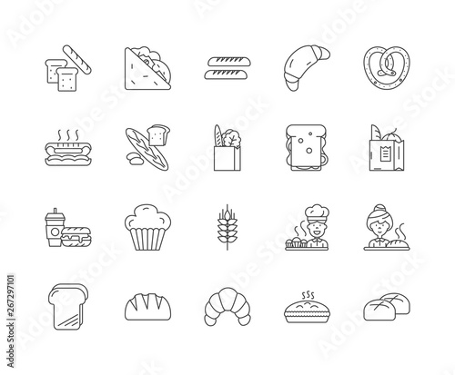 Foto Bread line icons, linear signs, vector set, outline concept illustration