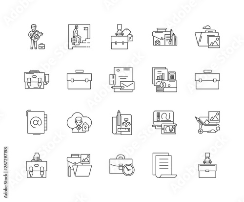 Briefcase line icons, linear signs, vector set, outline concept illustration Wallpaper Mural