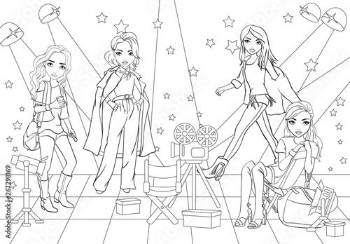 Photo Coloring Book Casting Actresses At Movie Studio